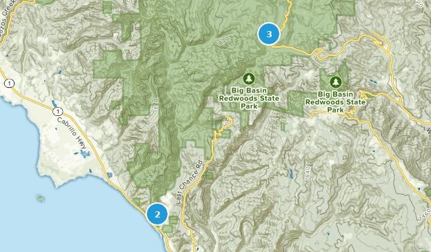 Desierto del estado de West Waddell Creek Map