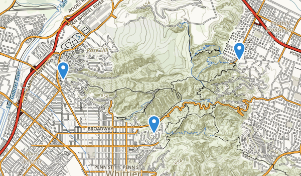 trail locations for Rose Hills Memorial Park