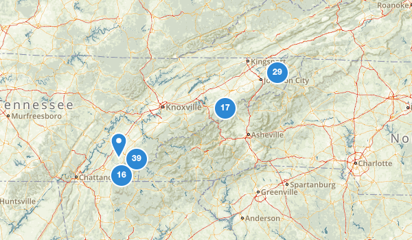 trail locations for Cherokee National Forest
