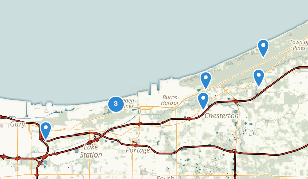 trail locations for Indiana Dunes National Lakeshore