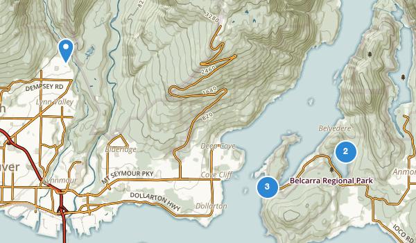 trail locations for Belcarra Regional Park