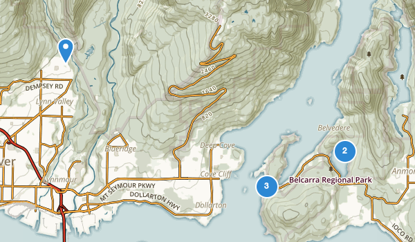 trail locations for Belcarra Regional Park