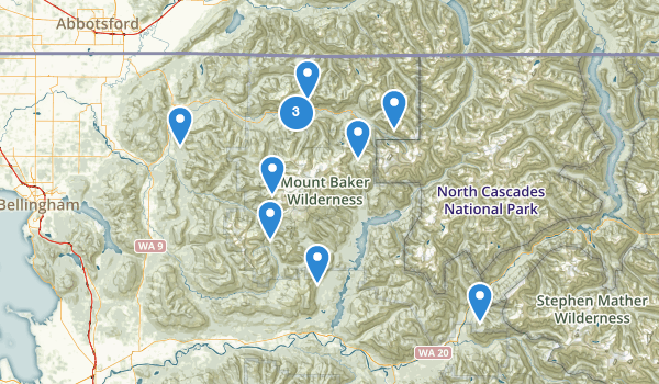 trail locations for Mount Baker Wilderness