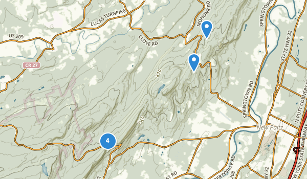 trail locations for Mohonk Preserve