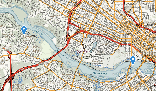 trail locations for James River Park