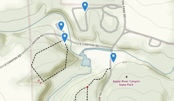 trail locations for Apple River Canyon State Park
