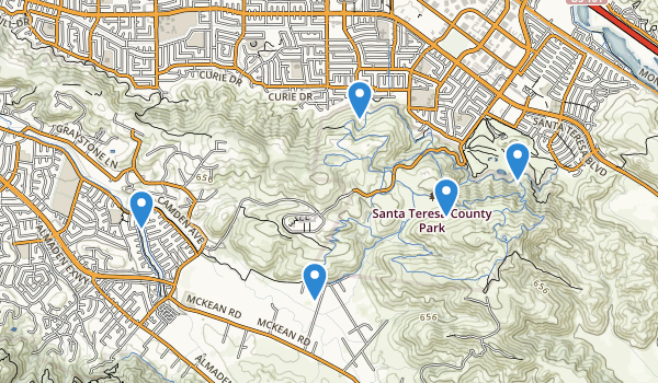 trail locations for Santa Teresa County Park