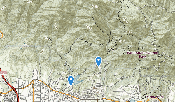 trail locations for Rattlesnake Canyon Park