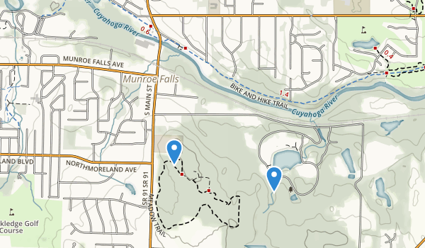 trail locations for Munroe Falls Metro Park