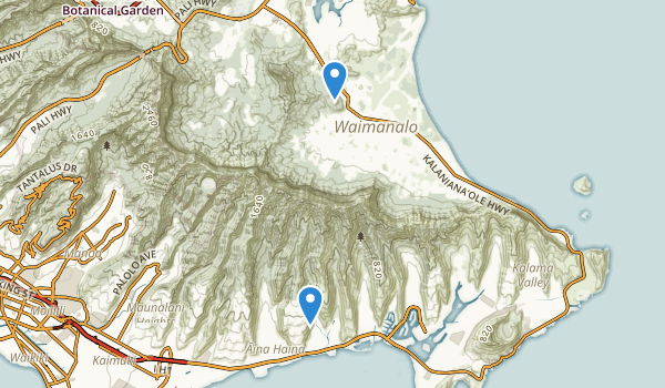 trail locations for Waimanalo District Park