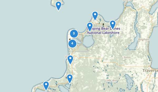 trail locations for Sleeping Bear Dunes Nat L Lakeshore