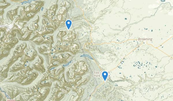 trail locations for East Glacier  Park Village