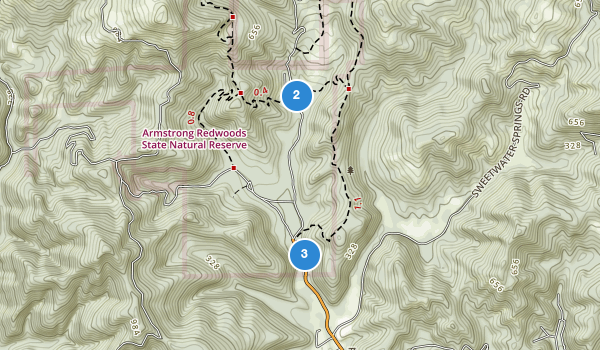 trail locations for Armstrong Redwoods State Reserve