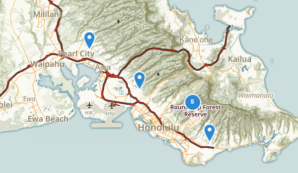 trail locations for Honolulu Watershed Forest Reserve