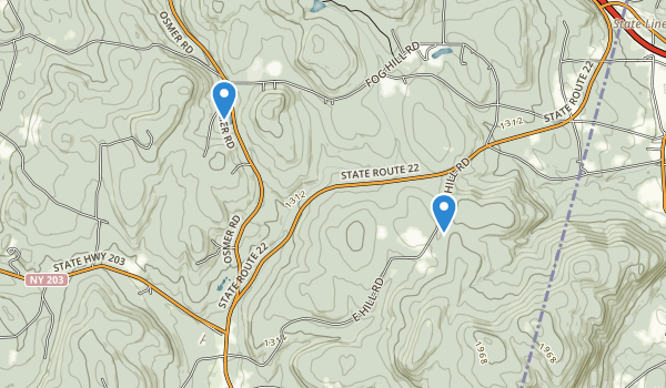 trail locations for Harvey Mountain State Forest