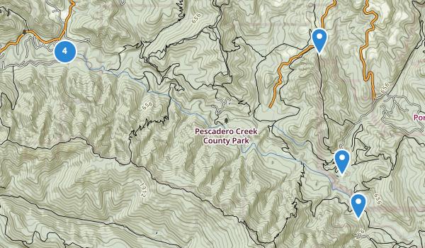 trail locations for Pescadero Creek County Park
