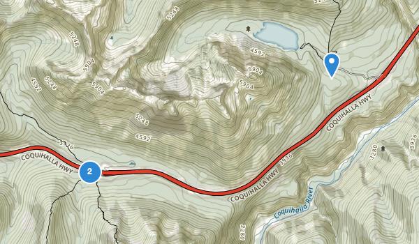 trail locations for Coquihalla Summit Recreation Area