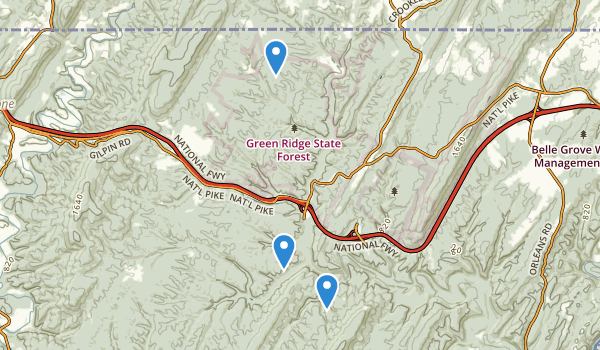 trail locations for Green Ridge State Forest