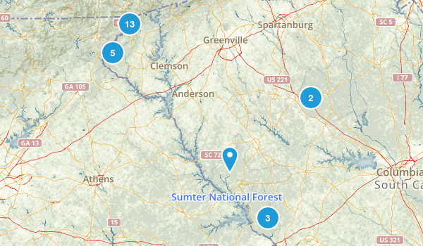 Best Trails In Sumter National Forest South Carolina - Sc waterfalls map