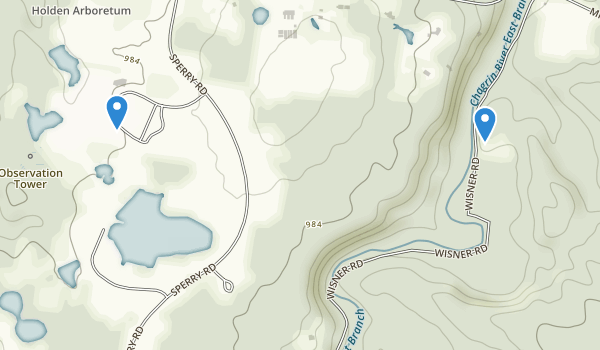 trail locations for Holden Arboretum