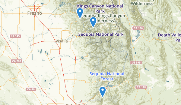 trail locations for Glant Sequoia National Monument