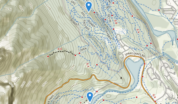 trail locations for Canmore Nordic Centre Provincial Park
