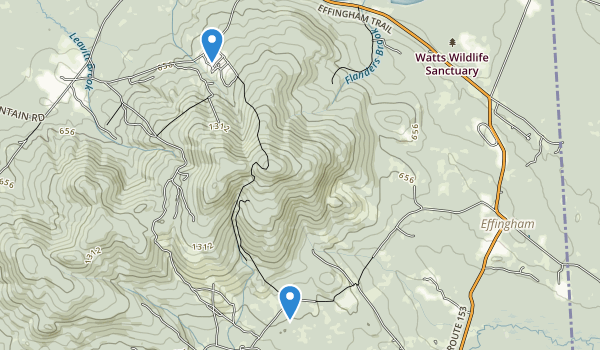 trail locations for Effingham Conservation Commission Tracts