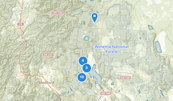 trail locations for Winema National Forest