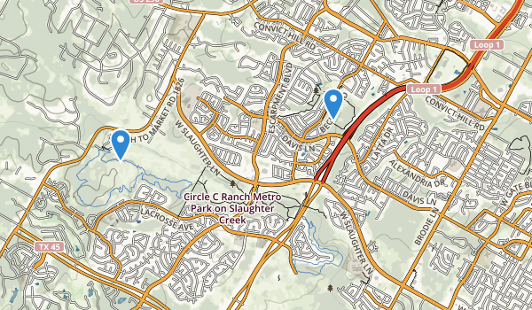 Circle C Ranch Metro Park on Slaughter Creek Map