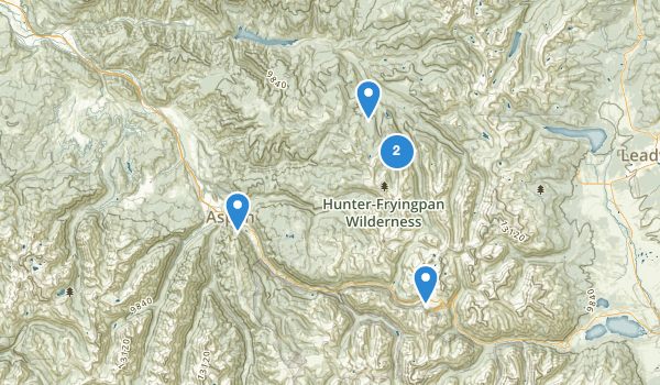 trail locations for Hunter Fryingpan Wilderness