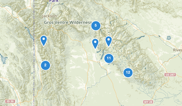 trail locations for Bridger National Forest