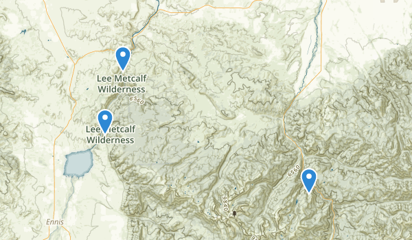 trail locations for Lee Metcalf Wilderness