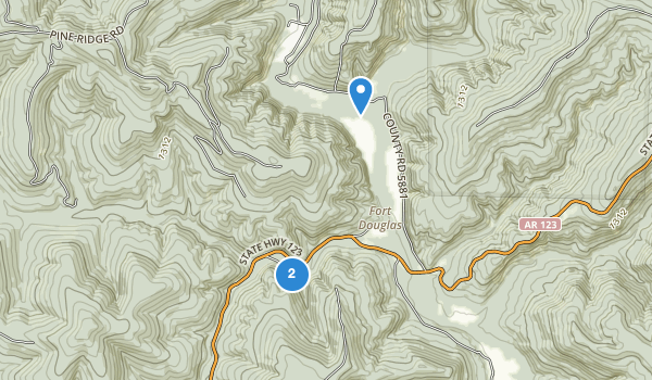 trail locations for Haw Creek Falls Recreation Area