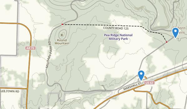 trail locations for Pea Ridge National Military Park