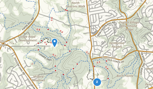 trail locations for Middle Run Valley Park