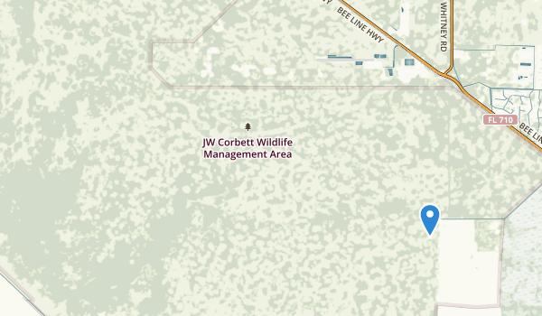 trail locations for J W Corbett Wildlife Management Area