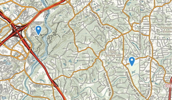 trail locations for Chastain Memorial Park