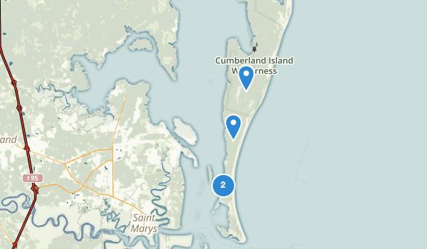 trail locations for Cumberland Island National Seashore