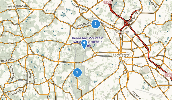 trail locations for Kennesaw Mountain National Battlefield Park