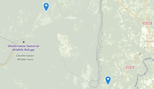 trail locations for Okefenokee National Wildlife Refuge