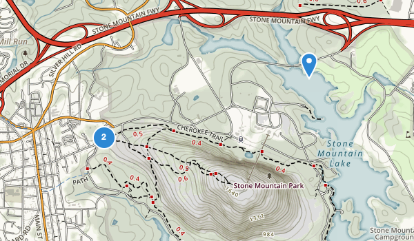 trail locations for Stone Mountain State Memorial Park