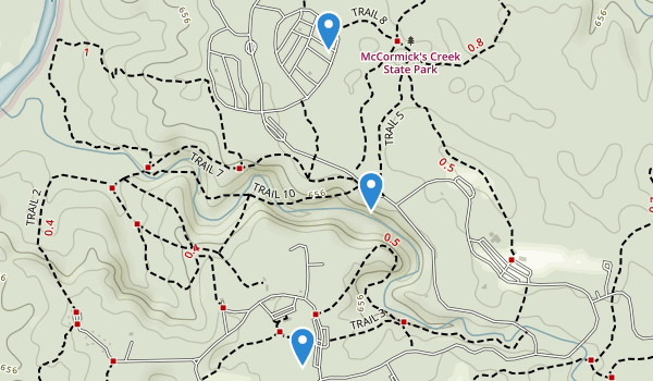 trail locations for McCormicks Creek State Park