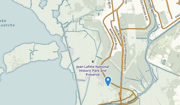trail locations for Jean Lafitte National Historical Park and Preserve