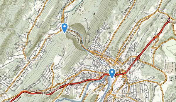 trail locations for Wills Mountain State Park