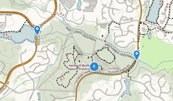 trail locations for Hemlock Bluffs State Natural Area