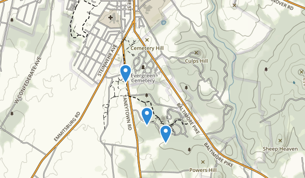 trail locations for Gettysburg National Military Park