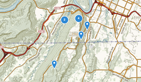 trail locations for Chickamauga and Chattanooga National Military Park