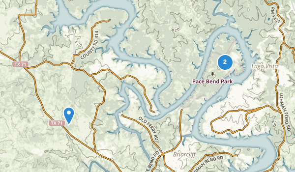 trail locations for Pace Bend Park