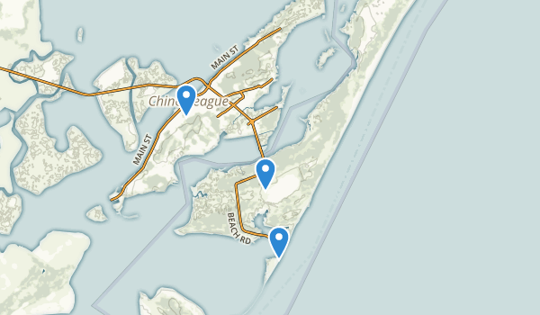 trail locations for Chincoteague National Wildlife Refuge