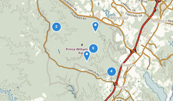 trail locations for Prince William Forest Park